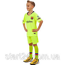 Форма футбольная детская BARCELONA MESSI 10 гостевая 2019 SP-Planeta CO-7294 (р-р 20-30 6-16лет, 110-155см, салатовый-синий), фото 3