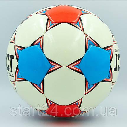 Мяч футбольный №4 PU ламин. ST TALENTO ST-8255 белый-синий-малиновый (№4, 5 сл., сшит вручную), фото 2