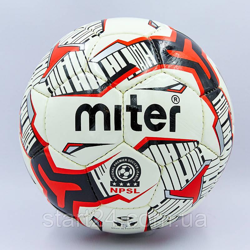 Мяч футбольный №5 PU ламин. MITER MR-16 (№5, 5 сл., сшит вручную, цвета в ассортименте)