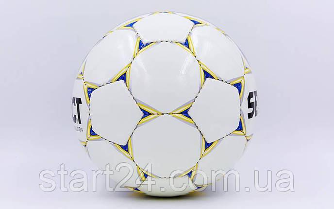 Мяч футбольный №5 PU ламин. ST EVOLUTION ST-8163 белый-синий-желтый (№5, 5 сл., сшит вручную), фото 2