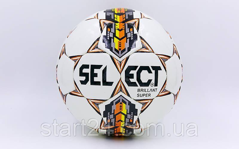 Мяч футбольный №4 PU ламин. ST BRILLANT SUPER ST-8257 белый-оранжевый-серый (№4, 5 сл., сшит вручную)