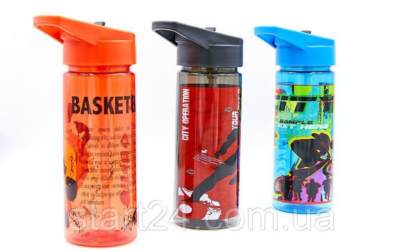 Бутылка для воды спортивная SP-Planeta FOOTBALL 500 мл 6635 (PC, черный, синий, красный)
