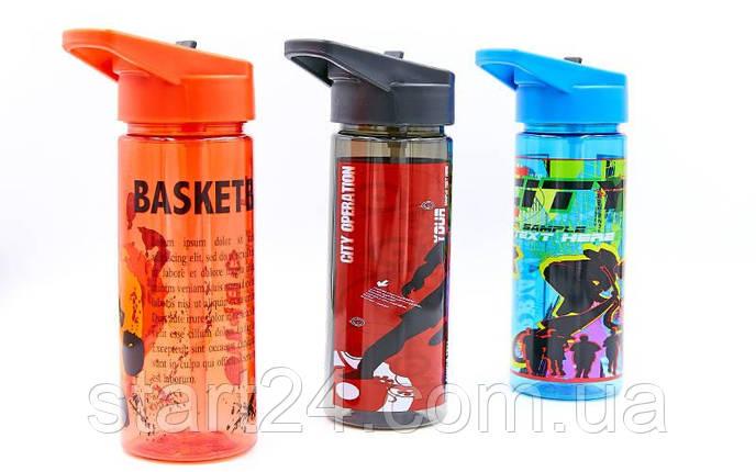 Бутылка для воды спортивная SP-Planeta FOOTBALL 500 мл 6635 (PC, черный, синий, красный), фото 2