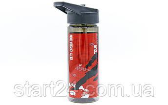 Бутылка для воды спортивная SP-Planeta FOOTBALL 500 мл 6635 (PC, черный, синий, красный), фото 3