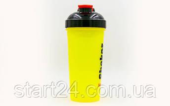 Шейкер с сеточкой для спортивного питания FI-4444 (TS1314) (пластик, 700мл, желтый-черный), фото 2