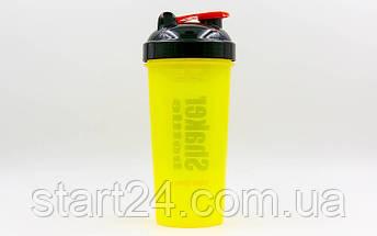 Шейкер с сеточкой для спортивного питания FI-4444 (TS1314) (пластик, 700мл, желтый-черный), фото 3