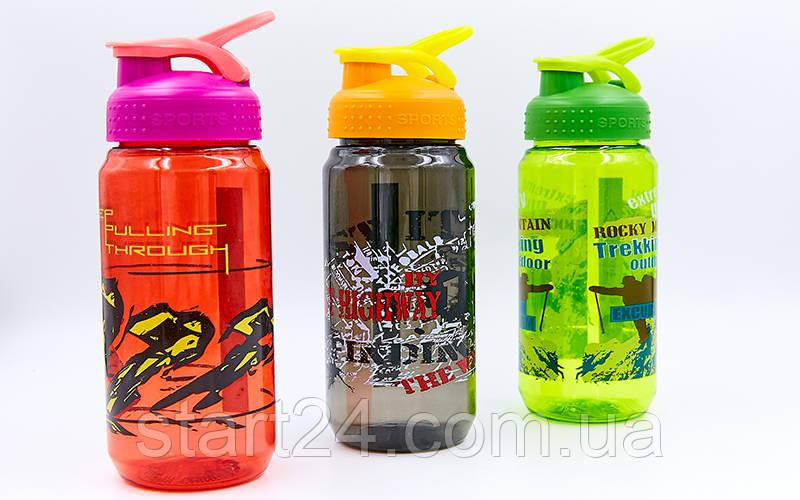 Бутылка для воды спортивная SP-Planeta SPORT 500 мл 1821 (PC, черный, красный, салатовый)