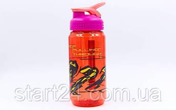 Бутылка для воды спортивная SP-Planeta SPORT 500 мл 1821 (PC, черный, красный, салатовый), фото 3