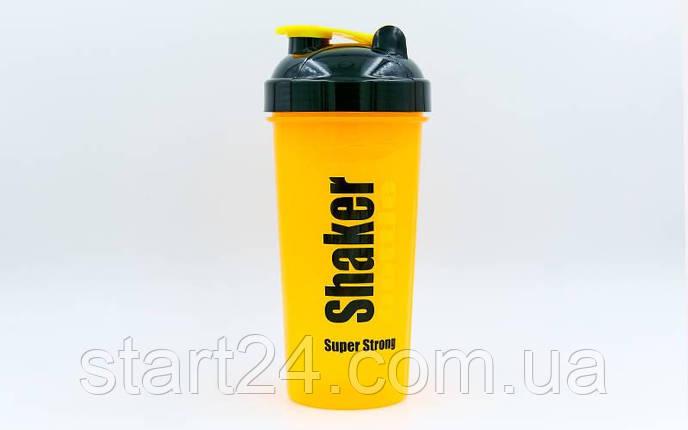 Шейкер с сеточкой для спортивного питания FI-4444-OBK (TS1314) (пластик, 700мл, оранжевый-черный), фото 2
