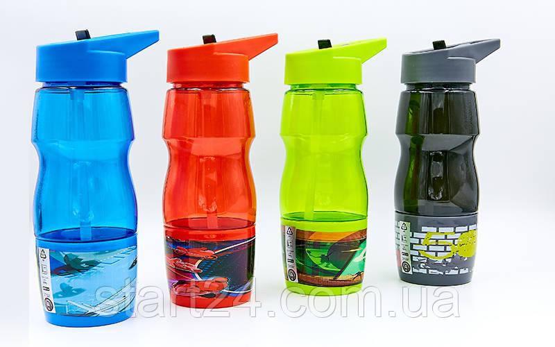 Бутылка для воды спортивная со стаканом SP-Planeta SPORT 600 мл 6623 (PC, черный, синий, красный, салатовый )