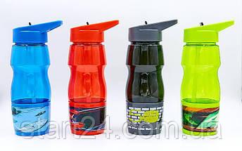 Бутылка для воды спортивная со стаканом SP-Planeta SPORT 600 мл 6623 (PC, черный, синий, красный, салатовый ), фото 2