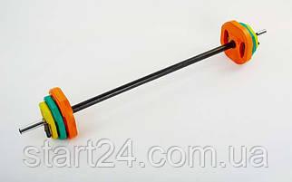 Штанга для фитнеса (фитнес памп) FI-4247 20кг (гриф l-1,3м, d-25мм, обрезин.блины 2x(1,25+2,5+5кг))