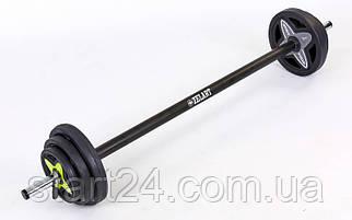 Штанга для фитнеса (фитнес памп) FI-7216 20кг (гриф l-1,3м, d-25мм, обрезин.блины 2x(1,25+2,5+5кг))