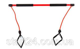 Палка гимнастическая для фитнеса  с эспандерами Bodi Shaper Stick PS F-932 (пласт,l-100см,lэсп-65см)