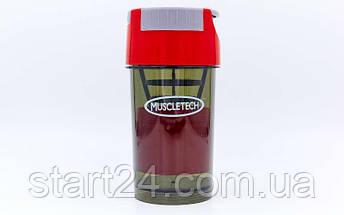 Шейкер 2-х камерный для спортивного питания MUSCLETECH FI-7016 (500+100мл, Tritan, цвета в ассорт), фото 3