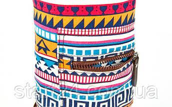 Сумка для йога коврика Yoga bag KINDFOLK FI-8365-1 (размер 15смх65см, полиэстер, хлопок, оранжевый-голубой), фото 3