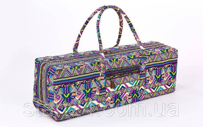 Сумка для фитнеса и йоги Yoga bag FODOKO FI-6970-2 (размер 20смх19смх64см, полиэстер, хлопок, темно-синий-фиолетовый), фото 2