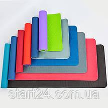 Коврик для фитнеса и йоги TPE+TC 6мм двухслойный SP-Planeta FI-3046-MIX (размер 1,83мx0,61мx6мм, цвета в ассортименте), фото 2