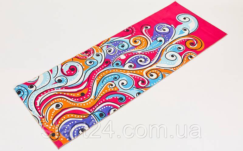 Коврик для йоги и фитнеса Замшевый PVC двухслойный 6мм SP-Planeta FI-6873-6 (размер 173смx61смx6мм, красный, с абстрактным принтом)