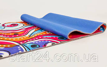 Коврик для йоги и фитнеса Замшевый PVC двухслойный 6мм SP-Planeta FI-6873-6 (размер 173смx61смx6мм, красный, с абстрактным принтом), фото 3