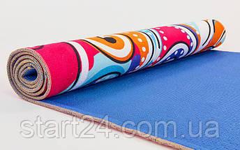 Коврик для йоги и фитнеса Замшевый PVC двухслойный 6мм SP-Planeta FI-6873-6 (размер 173смx61смx6мм, красный, с абстрактным принтом), фото 2