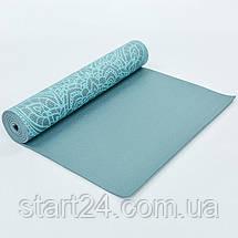 Коврик для йоги и фитнеса PVC двухслойный 6мм SP-Planeta DOILY FI-0185-1 (размер 173смx61смx6мм, серый), фото 2
