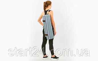 Сумка для йога коврика Yoga bag FODOKO FI-6972-7 (размер 16смх70см, полиэстер, хлопок, серый-синий), фото 3