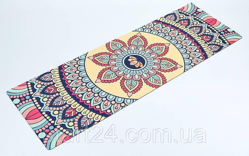 Коврик для йоги Замшевый каучуковый двухслойный 3мм Record FI-5662-14 (размер 1,83мx0,61мx3мм, бежевый, с цветочным принтом)
