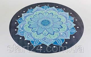 Коврик для йоги круглый Замшевый каучуковый двухслойный 3мм без чехла Record FI-6218-5 (диаметр 150см, черный-голубой, с принтом Ледяной Цветок)