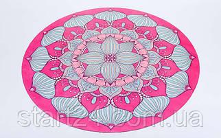 Коврик для йоги круглый Замшевый каучуковый двухслойный 3мм с чехлом Record FI-6218-4 (диаметр 150см, розовый-голубой, с принтом Шелковый Путь)