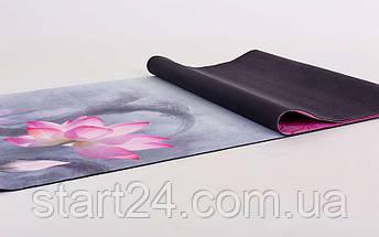Коврик для йоги Замшевый каучуковый двухслойный 3мм Record FI-5662-22 (размер 1,83мx0,61мx3мм, серый-красный, с принтом Индийский Лотос), фото 2