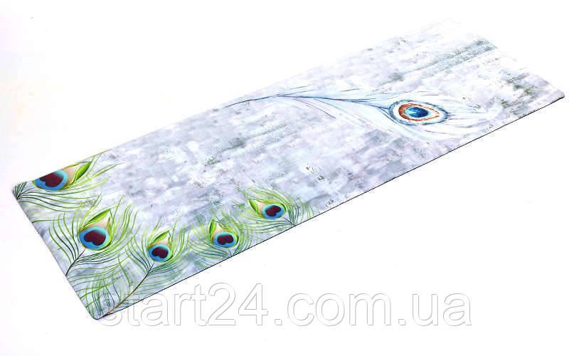 Коврик для йоги Замшевый каучуковый двухслойный 3мм Record FI-5662-20 (размер 1,83мx0,61мx3мм, серый-салатовый, с принтом Перо Павлина)