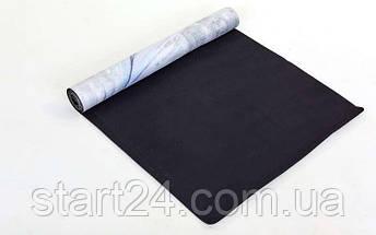 Коврик для йоги Замшевый каучуковый двухслойный 3мм Record FI-5662-20 (размер 1,83мx0,61мx3мм, серый-салатовый, с принтом Перо Павлина), фото 3