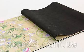 Коврик для йоги Замшевый каучуковый двухслойный 3мм Record FI-5662-30 (размер 1,83мx0,61мx3мм, бежевый, с цветочным принтом), фото 2