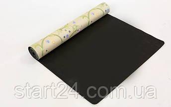 Коврик для йоги Замшевый каучуковый двухслойный 3мм Record FI-5662-30 (размер 1,83мx0,61мx3мм, бежевый, с цветочным принтом), фото 3