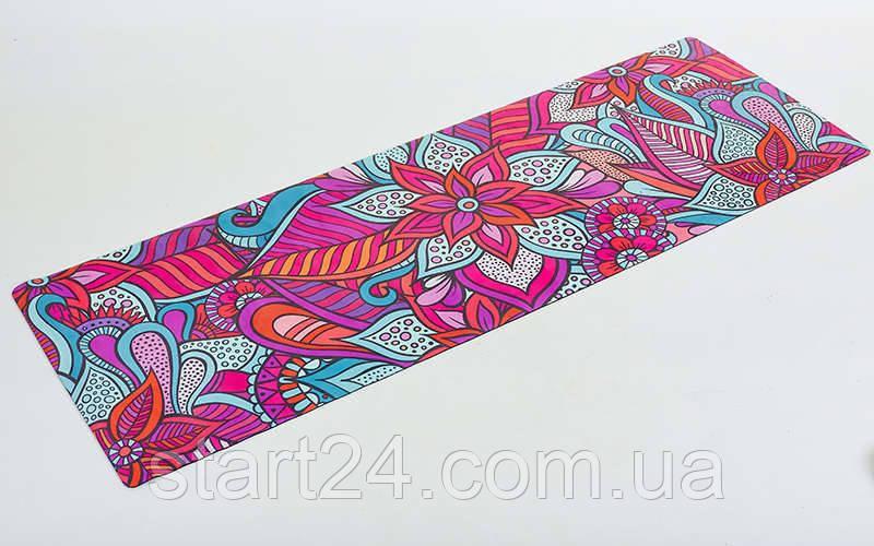 Коврик для йоги Замшевый каучуковый двухслойный 3мм Record FI-5662-16 (размер 1,83мx0,61мx3мм, малиновый-красный-голубой, с цветочным принтом)