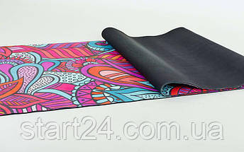 Коврик для йоги Замшевый каучуковый двухслойный 3мм Record FI-5662-16 (размер 1,83мx0,61мx3мм, малиновый-красный-голубой, с цветочным принтом), фото 2