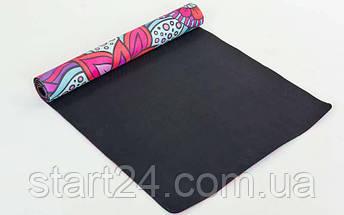 Коврик для йоги Замшевый каучуковый двухслойный 3мм Record FI-5662-16 (размер 1,83мx0,61мx3мм, малиновый-красный-голубой, с цветочным принтом), фото 3