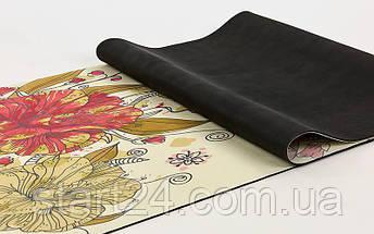 Коврик для йоги Замшевый каучуковый двухслойный 3мм Record FI-5662-32 (размер 1,83мx0,61мx3мм, бежевый-салатовый, с цветочным принтом), фото 2
