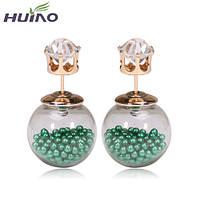 Серьги-пусеты Mise en Dior, зеленые. Супер-классные НОВИНКИ!