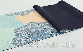 Коврик для йоги Замшевый каучуковый двухслойный 3мм Record FI-5662-15 (размер 1,83мx0,61мx3мм, мятный-синий-бежевый, с Индийским принтом), фото 3