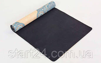 Коврик для йоги Замшевый каучуковый двухслойный 3мм Record FI-5662-15 (размер 1,83мx0,61мx3мм, мятный-синий-бежевый, с Индийским принтом), фото 2