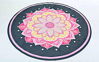 Коврик для йоги круглый Замшевый каучуковый двухслойный 3мм с чехлом Record FI-6218-1 (диаметр 150см, черный-розовый, с принтом Огненный Цветок)