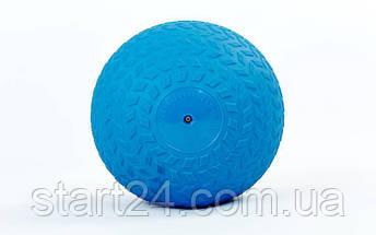 Мяч набивной слэмбол для кроссфита рифленый Record SLAM BALL FI-5729-5 5кг (PVC, минеральный наполнитель, d-23см, синий), фото 3