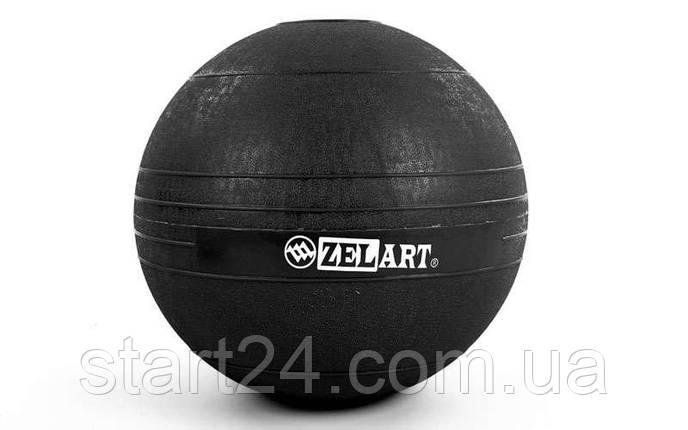 Мяч набивной слэмбол для кроссфита Record SLAM BALL FI-5165-12 12кг (резина, минеральный наполнитель, d-23см,черный), фото 2