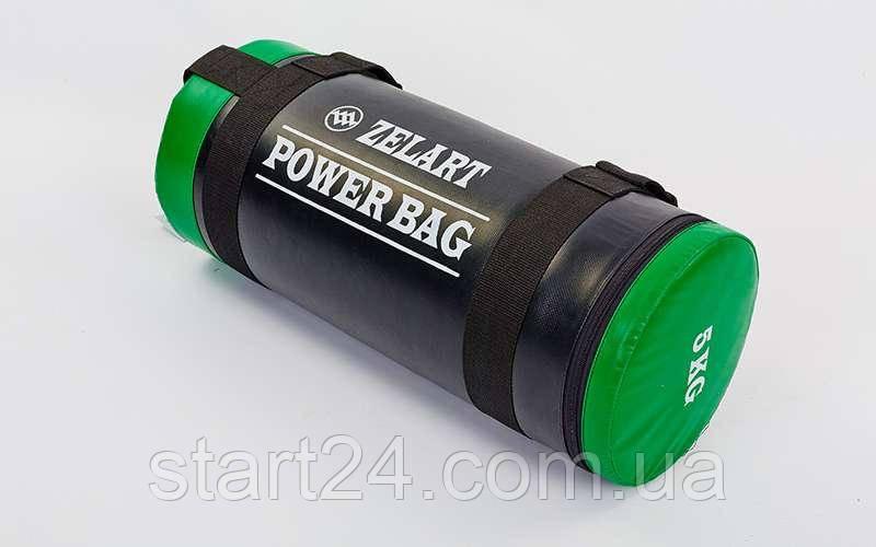 Мешок для кроссфита и фитнеса Zelart FI-5050A-5 Power Bag (PVC, нейлон, вес 5кг, черный-зеленый)