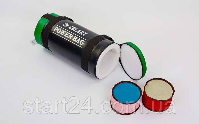 Мешок для кроссфита и фитнеса Zelart FI-5050A-5 Power Bag (PVC, нейлон, вес 5кг, черный-зеленый), фото 2