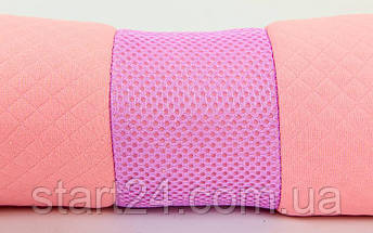 Болстер (валик) для йоги мягкий FI-6990 (хлопок, р-р 36х11см, розовый), фото 2