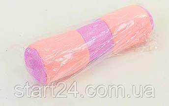 Болстер (валик) для йоги мягкий FI-6990 (хлопок, р-р 36х11см, розовый), фото 3