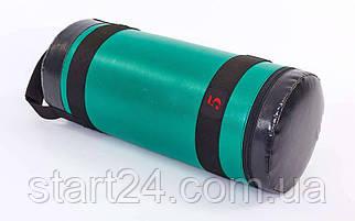Мешок для кроссфита и фитнеса UR FI-6574-5 (PVC, нейлон, вес 5кг, р-р 56x22см, зеленый-черный)